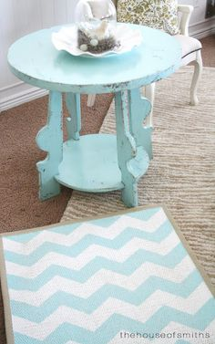 OK...while this looks like a hard project to me....I would so love to make a couple.  I would more than likely not paint the whole thing white first..just let the natural show thru and paint the chevron.