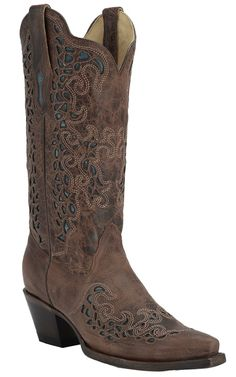 Corral Women's Burnished Brown w/ Blue Mad Dog Goat Inlay Snip Toe Western Boots Cowgirl Style, Cowgirl Boots, Western Boots, Riding Boots, Western Wear, Country Girls Outfits, Girl Outfits, Corral Boots, Dress And Heels