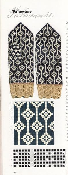 Knitting Patterns Mittens Several pages with mitten patterns from an unknown m … Knitted Mittens Pattern, Knit Mittens, Knitted Gloves, Knitting Socks, Hand Knitting, Knitting Charts, Knitting Stitches, Knitting Patterns, Doily Patterns