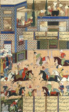 KHUSRAW AND SHIRIN AT POLO SAFAVID SHIRAZ, CIRCA 1570 AD From the Khusraw and Shirin of Nizami, gouache heightened with gold on paper, a vigourous game of polo takes place at the centre of the composition as spectators look on from the sides, an elaborately decorated building behind housing further spectators and musicians above, with lines of black nasta'liq arranged in four columns and one heading in white on a gold floral ground, with gold and polychrome rules, mounted 32.4 x 20.2cm