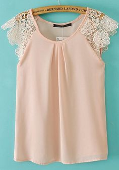 Pink Plain Hollow-out Lace Sleeveless Chiffon T-Shirt