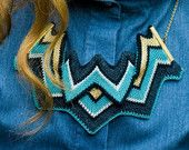 Asp - Knitted Statement Necklace, Sculptural Chevron knit in Teal and Gold