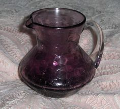 Vtg Amethyst Crackle Glass Pitcher Blenko? Purple Art Glass Hand Blown Creamer #ArtGlass