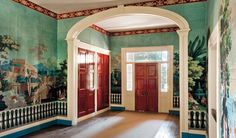 Upstairs hall with the newly discovered French wallpaper installed -- The Hermitage, Nashville, Tennessee. French Wallpaper, Scenic Wallpaper, Antique Wallpaper, Chinoiserie Wallpaper, Greek Revival Architecture, Southern Architecture, Neoclassical Architecture, Nashville Attractions, Houses