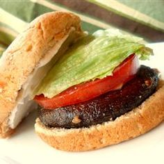 Portobello Sandwiches , AllRecipes.com - looks good, minus the mayo (ick). Pretty healthy without that, too.