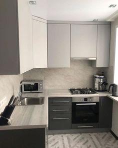 Simple Kitchen Design, Ikea Kitchen Design, Home Decor Kitchen, Interior Design Kitchen, Home Kitchens, Small Modern Kitchens, Small Apartment Kitchen, Home Room Design, Kitchen Remodel