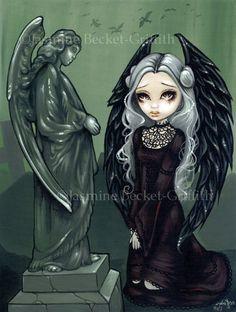 Angels of Highgate cemetery grave fairy art print by strangeling, $29.99