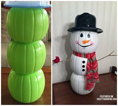 Today i'm featuring Cathy Harris-Lupo's brilliant craft she made! She turned three plastic pumpkin buckets from Halloween into a snowman and a beautiful fall/Thanksgiving decoration! Just paint the buckets and hot glue them together. Paint on a face. Glue sticks for the arms with a small cardinal sitting on the branch, and add a scarf! …