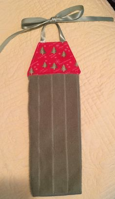 Handmade Hanging Kitchen Towel, Tie Towel, Christmas Towel, Red And Green  Towel,