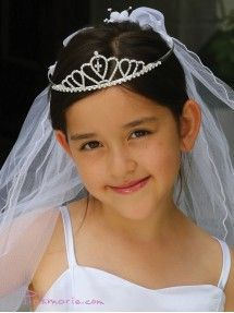 Gorgeous Rhinestone Tiara with Dangling Cross Communion Veil Sequin Flower Girl Dress, Cheap Flower Girl Dresses, Girls Dresses, First Communion Dresses, Plus Size Girls, Easter Dress, Pageant Dresses, Veil, Sequins