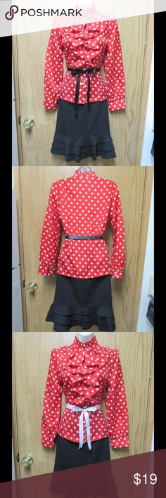 Glamorous Red Ruffle Blouse W/White Dots & 2 Belts This blouse is elegant and adorable. Unique. Soft and comfy material. Gorgeous colors and exquisite decoration. Belts included. Size Small - NWOT. Save $$$ on bundles. Tops Blouses