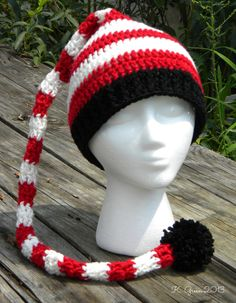 Adult size long-tail elf crochet hat pattern. Free pattern by Green Family Farm, Bladenboro, NC.