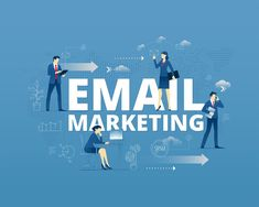 Email marketing hero banner Vector illustrative hero banner of email marketing. Marketing hero website header with men and women business characters around Marketing Digital, Email Marketing, Internet Marketing, Website Header, Site Website, Graphic Quotes, Marketing Quotes, Email Campaign, Influencer Marketing