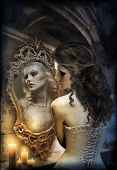 I love the mirror play. You can see the hair and face at once! Fantasy Portraits by Bruno Wagner