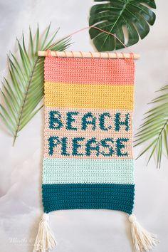 Crochet Wall Art, Crochet Wall Hangings, Beachy Colors, Warm Colors, Bright Colors, Crochet Fall, Free Crochet, Ombre Yarn, Modern Crochet Patterns