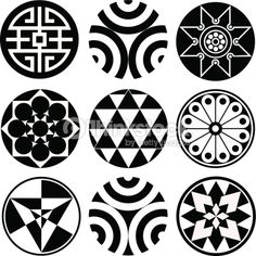 Set of 9 Round Vector Design Elements Circular Tattoo Designs, Maori Tattoo Designs, Round Design, Shape Design, Mandala Design, Mandala Art, Wall Stencil Patterns, Circle Tattoos, Circular Pattern