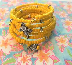 UnMello Yellow Memory Wire Wrap Boho by BlingItOutLoudCharms