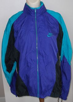 Sold for $34.99. NIKE Vintage Windbreaker Jacket Blue Teal Black Hood in Collar Mens M #Nike #Windbreaker