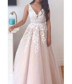Charming V Neck Appliques Beaded Prom Dress,Tulle A