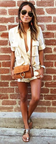 #sincerelyjules #spring #summer #besties | Cream Shirt + White Shorts
