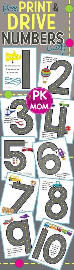 Free Number Formation Rhymes. These are AMAZING!! Print and Drive little cars, trucks and planes and learn proper number formation. Each number mat includes a fun rhyme for students to learn stroke order.