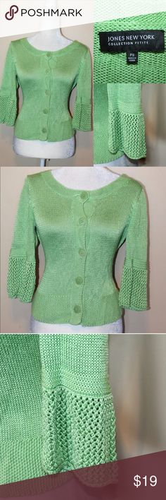 🍀JONES NEW YORK Green Cardigan #beautiful Don't get pinched this St Patrick's Day get your green clothes in my closet Bundle and Save Jones New York Sweaters Cardigans