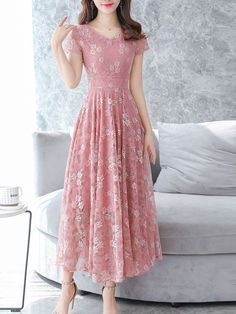 Chiffon floral printed lace maxi dress, with pink or other colors, you will love it, shop now! Source by mcsohni maxi dress Dresses For Teens, Modest Dresses, Simple Dresses, Day Dresses, Cute Dresses, Beautiful Dresses, Casual Dresses, Fashion Dresses, Summer Dresses