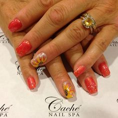Rita's @Caché Nail Spa #nails #design #sunflower #glitters #gelmani #coral #gel