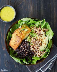 Best Fish Recipes — Salmon Bowl with Farro Black Beans and Tahini Dressing Best Fish Recipes, Seafood Recipes, Dinner Recipes, Healthy Recipes, Salad Recipes, Dinner Ideas, Unique Recipes, Lunch Ideas, Tofu Recipes