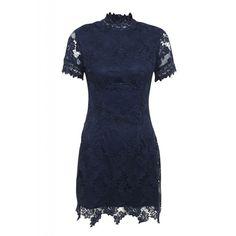 AX Paris Short Sleeved Crochet Dress ($61) ❤ liked on Polyvore featuring dresses, navy, women, navy shift dress, shift dress, blue evening dresses, holiday dresses e navy blue cocktail dress