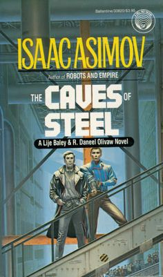 The Caves of Steel written by Isaac Asimov. Involves Lije Bailey and R. Daneel Olivaw--the first Science Fiction Murder Mystery. Timeless, interesting, suspensful and fun. It was oddly enough prophetic too.