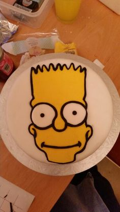 A gluten and dairy free birthday cake of Bart Simpson