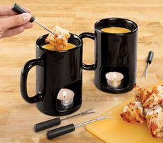 Fondue for 2! Individual fondu mugs - so cute