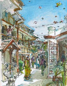 India, Kite Flying Festival Mumbai Bombay-arte grabado