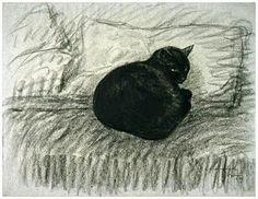 Chat Noir Couché en Boule sur un Divan (Black Cat Lays in a Ball on a Divan) by Théophile Alexandre Steinlen. 1920