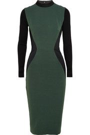 Victoria Beckham Two-tone rib-paneled silk and wool-blend dress