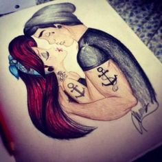 hipster tattooed Ariel and Eric Disney characters sketch