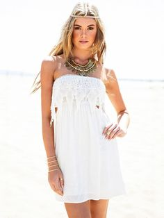 White Lace Stitching Wrapped Chest Tube Waist Dress with Open Back