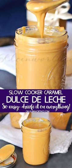 Crock Pot Dulce de Leche is an easy slow cooker caramel recipe that takes just one ingredient. Simple to make & the perfect topping for fall desserts.