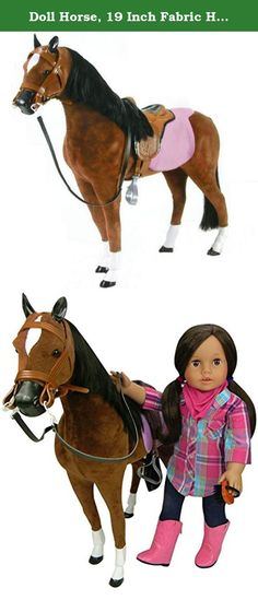 """Doll Horse, 19 Inch Fabric Horse & Saddle, Fits 18 Inch Dolls Like American Girl and More! Fabric Horse & Saddle for Dolls. Your 18 inch doll will love riding on this fantastic new horse! The 19"""" fabric horse comes with a saddle and is sure to be a favorite toy for your doll! A great present for a birthday or the holidays! © 2013 Sophia's- All Rights Reserved."""