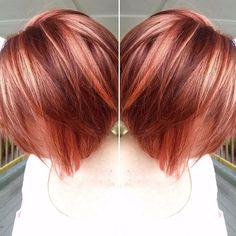 Too cute coral pravana vivid highlights Hair by Dani Lassetter Red Blonde Hair, Red Hair Color, Hair Colors, Short Red Hair, Love Hair, Gorgeous Hair, Cabelo Rose Gold, Haircuts For Wavy Hair, Choppy Haircuts
