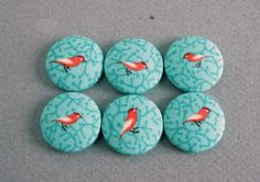 small birds fabric covered buttons   - made in the USA - on Etsy, $5.99