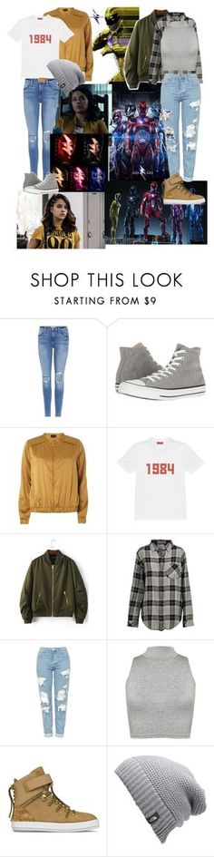 """""""Power Rangers 2017 Trini"""" by alex2116 ❤ liked on Polyvore featuring Power Rangers, Frame, Converse, Dorothy Perkins, Gosha Rubchinskiy, WithChic, Current/Elliott, Topshop, WearAll and SWEAR"""