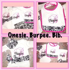 Baby girl coming home outfit   Pink and black damask  or any colors custom initial name fancy font bib one piece bodysuit bow and burp cloth by KutesforyourKutie on Etsy https://www.etsy.com/listing/274337950/baby-girl-coming-home-outfit-pink-and