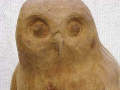 Silver birch wood Predators Carnivores Hunters Flesh Eaters Sculptures Statues statuettes carvings sculpture by artist Jon Evans titled: 'Owl (Carved Wood Standing Perched Owl statues/statuettes/sculptures)'