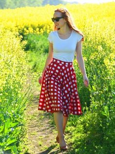 white tee with red gingham skirt