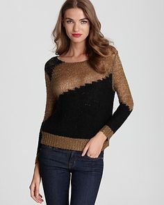 2bb9ee38c854e9 Alice + Olivia Opal Novelty Stitch Crew Neck @Bloomies Sweater Layering,  Fall Looks,