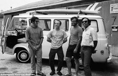 Doug Tompkins, Yvon Chouinard, Dick Dorworth and Lito Tejada-Flores in the yard in front of the Tin Shed in 1968