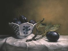 plums in blue and white ..