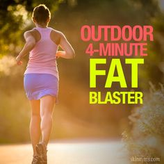 Outdoor 4 Minute Fat Blaster // What to Do: Sprint (run as fast as possible) for 20 seconds, then walk slowly for 10 seconds. Perform 8 circuits of this sprint/walk routine. If you're up for it, rest 1 minute after this fat blaster and repeat. Love Fitness, Fitness Diet, Fitness Goals, Health Fitness, Workout Fitness, Workout Ideas, Butt Workout, 4 Minute Workout, Fat Blaster
